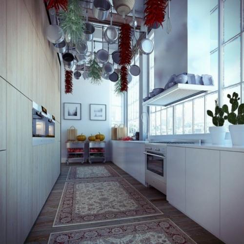 küchenideen hängende pfannen und chillis