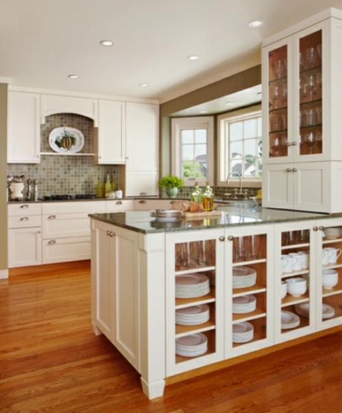 küchen ideen kücheninsel mit geschirschränken