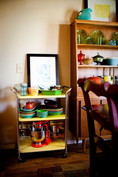 küchenideen rollender beistelltisch