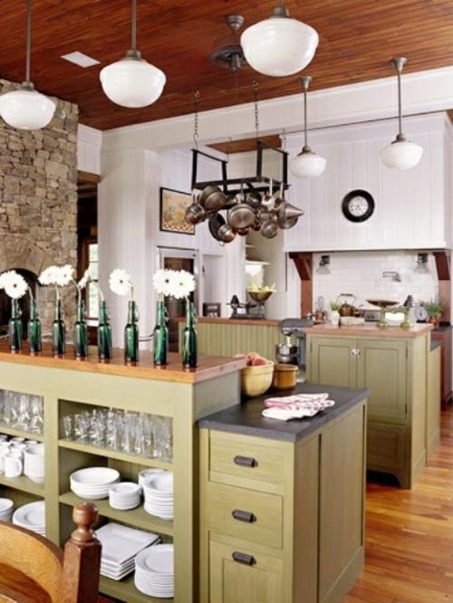 küchenideen tresen mit regalen und schubladen