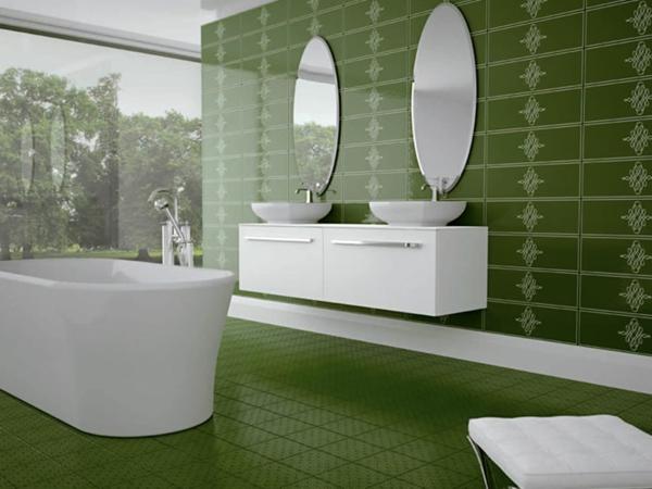 keramikfliesen in grasgrün symmetrische spiegel