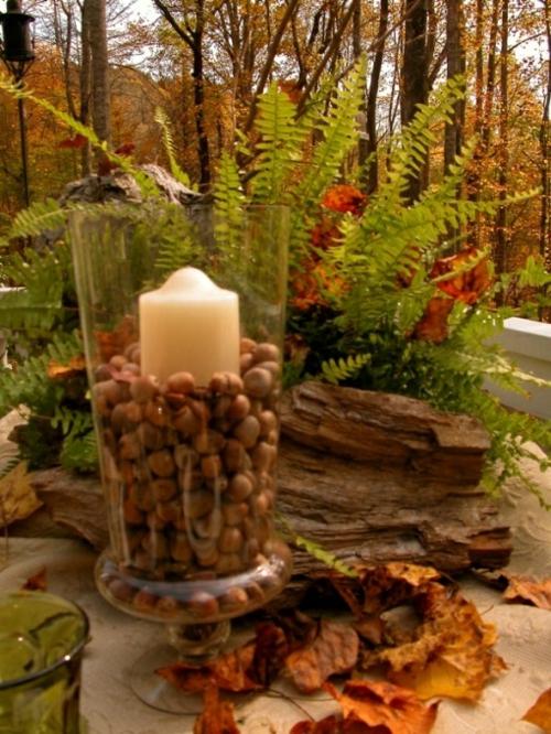 kerzen dekoration windlicht glas mit haselnüssen