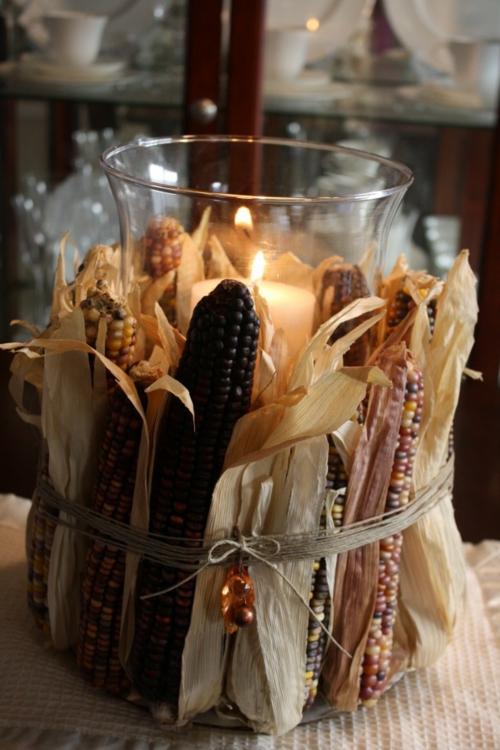kerzen dekoration windlicht mit maiskolben und blättern