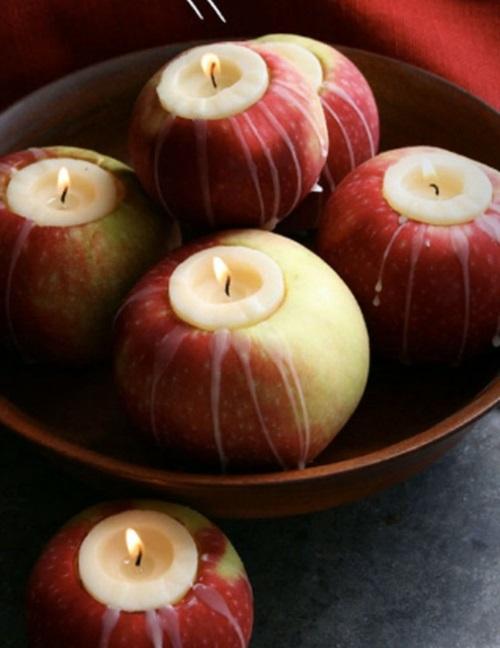 kerzen dekoration windlichter aus äpfeln