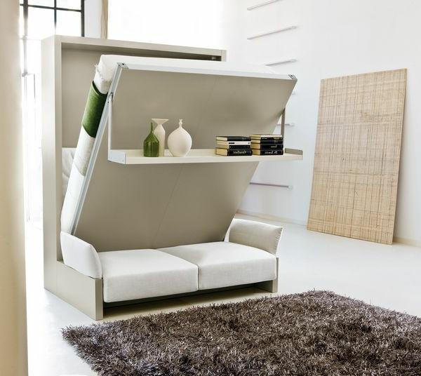 klappbetten schrankbett in weiß mit offenem regal