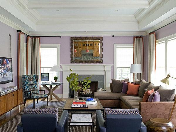 lavandel wohnzimmer einbaukamin das interieur mit farben bedecken