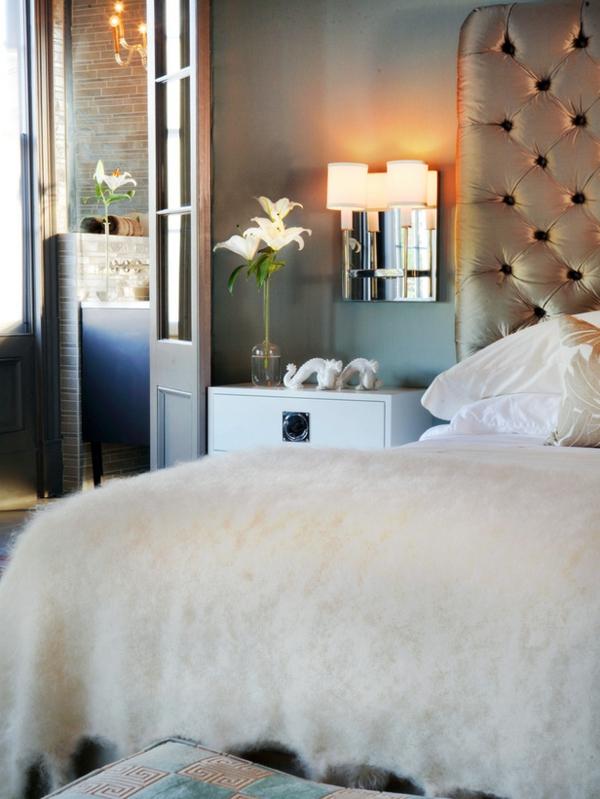 Luxus Schlafzimmer Fell Decke Und Gepolstertes Kopfteil