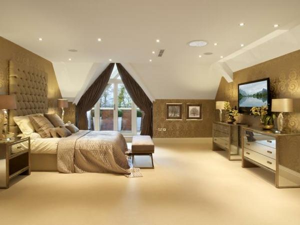 Fesselnd Luxus Schlafzimmer Goldene Wandtapeten Spiegelkommoden