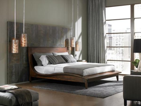 Luxus Schlafzimmer Granit Paneelen Und Zylindrische Hängelampen