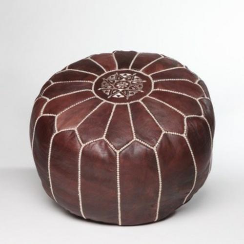 marokkanische muster runder lederhocher in dunkelbraun
