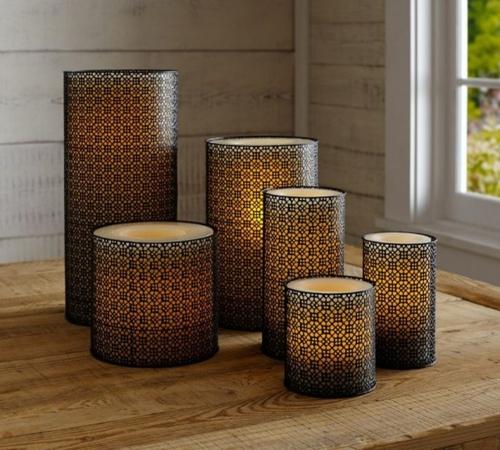 marokkanische muster zylindrische kerzen in ornamenten windlichtern