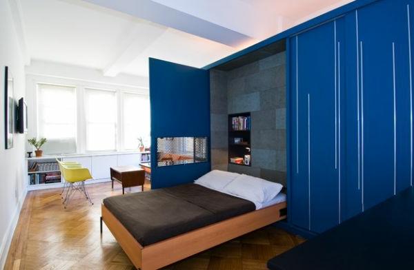 modernes jugendzimmer einrichten schrankbett blau türen