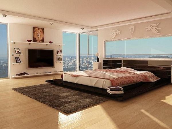 modernes schlafzimmer ausblick groß stadt fellteppich