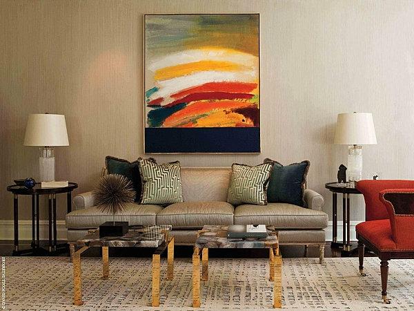neutral wohnzimmer hell farben akzente gemälde