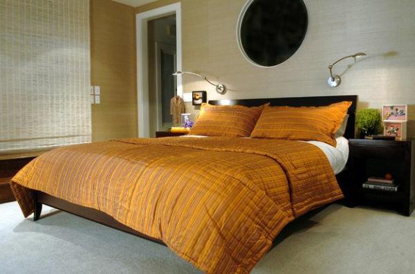 orange bettwäsche schlafzimmer rund wandspiegel
