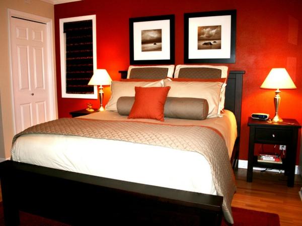 romantische Schlafzimmer bettwäsche weiß orange akzent