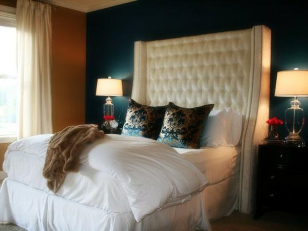 romantische Schlafzimmer bettwäsche weiß weich gemustert kopfkissen