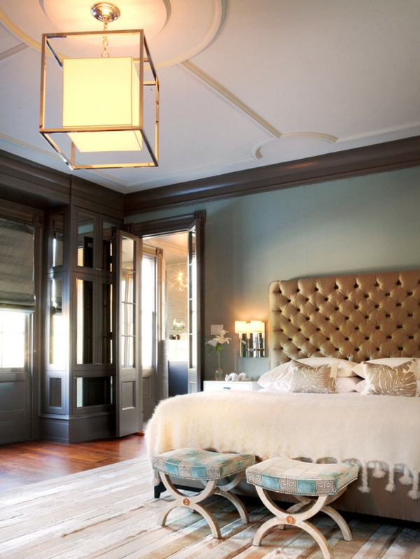 romantische Schlafzimmer kopfteil gepolstert bettwäsche plusch