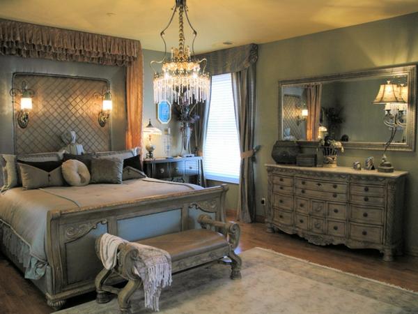 romantische Schlafzimmer kopfteil gepolstert klassisch aussehen