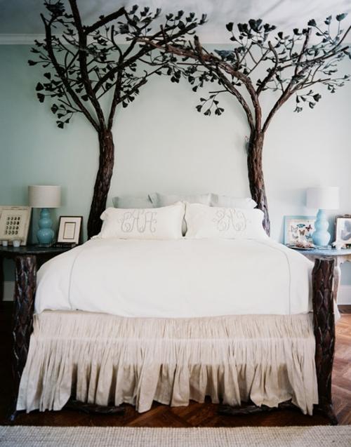schlafzimmer gestalten mit dekobäumen