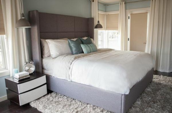 schlafzimmer kopfteil bettwäsche kuschelig matratze weiß