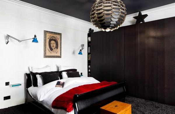 schlafzimmer schwarz weiß farben bettdecke rot