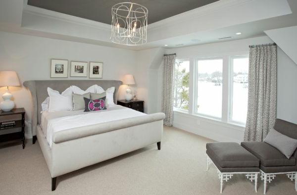 schlafzimmer verschieden grau schatten schlittenbett