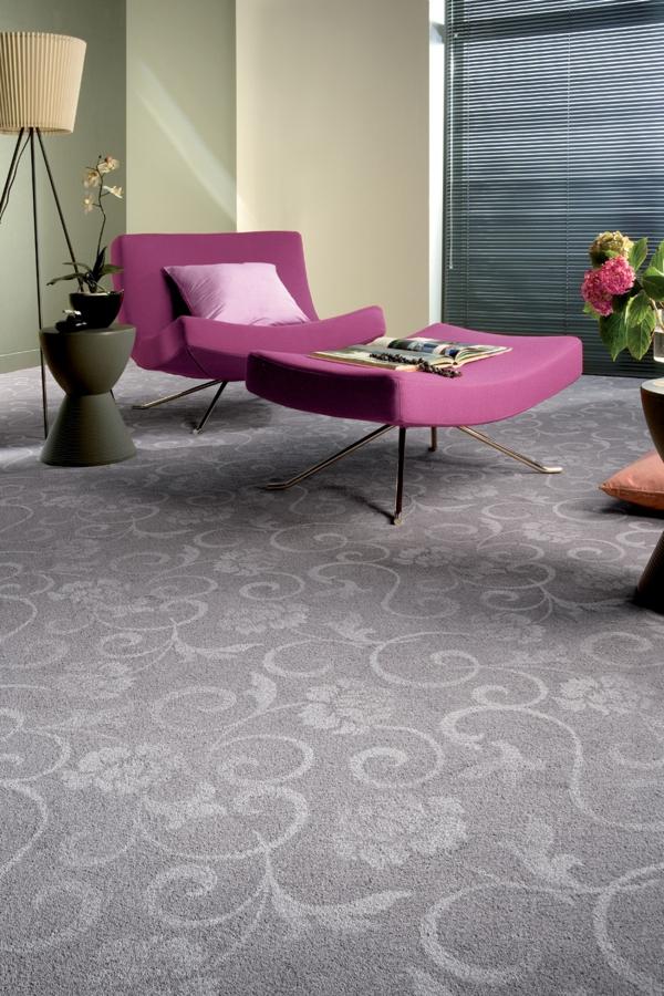 teppiche ranken muster in grau hochflor