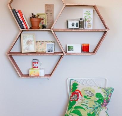 wandregal in wabenform eine coole diy idee f r ihr zuhause. Black Bedroom Furniture Sets. Home Design Ideas