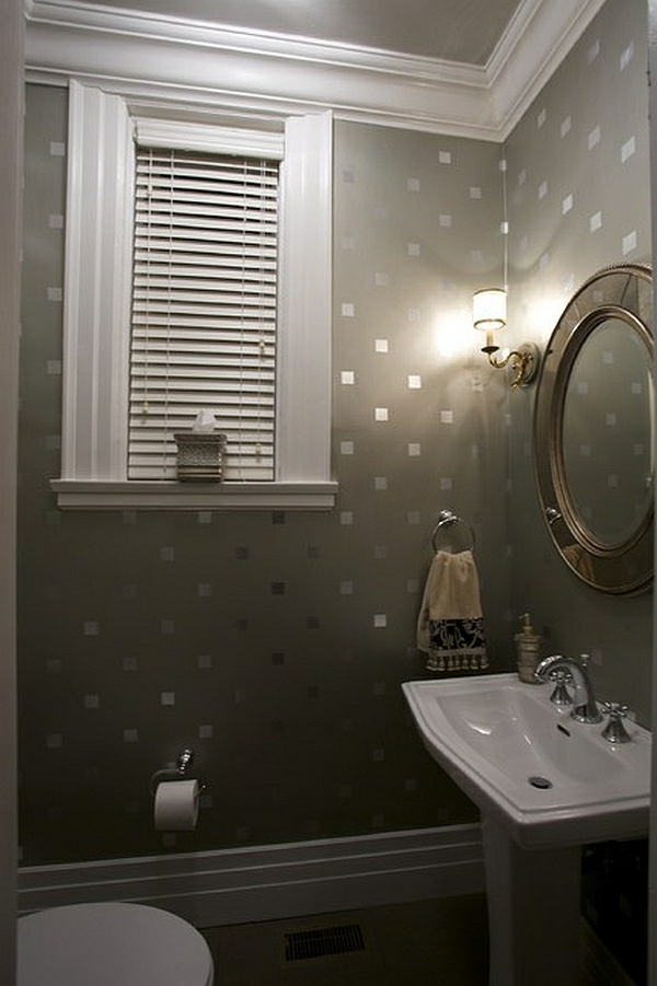 wandtapete in grau mit glänzenden quadraten