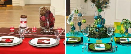 weihnachtliche tischdeko in rot oder in blau grün