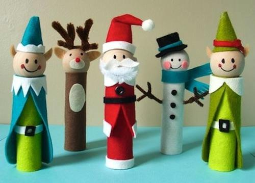 weihnachtsbasteln filzpuppen zyliderförmig und bunt
