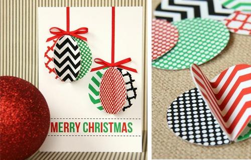weihnachtsbasteln grußkarte mit gemusterten baumkugeln