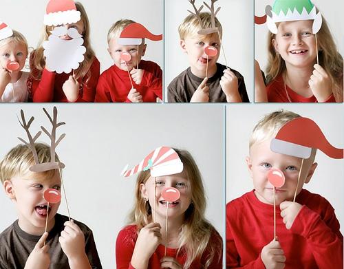 weihnachtsbasteln lustige masken zum foto machen