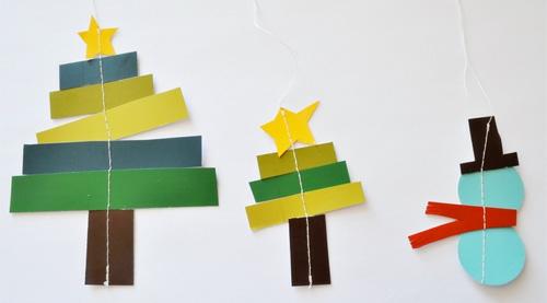 weihnachtsbasteln mit buntem papier figuren kreieren