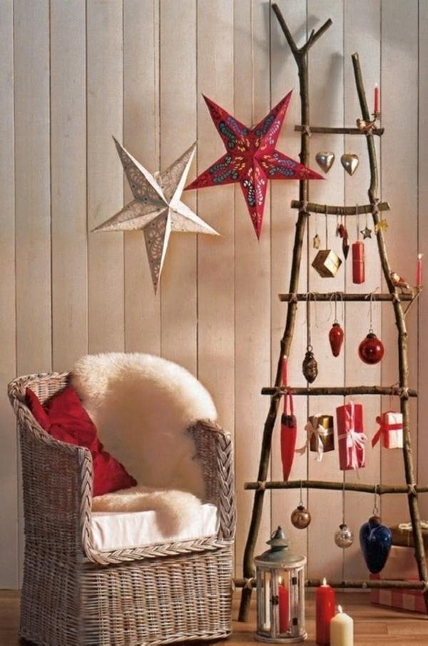 weihnachtsbaum basteln aus ästen mit herrnhuter sternen