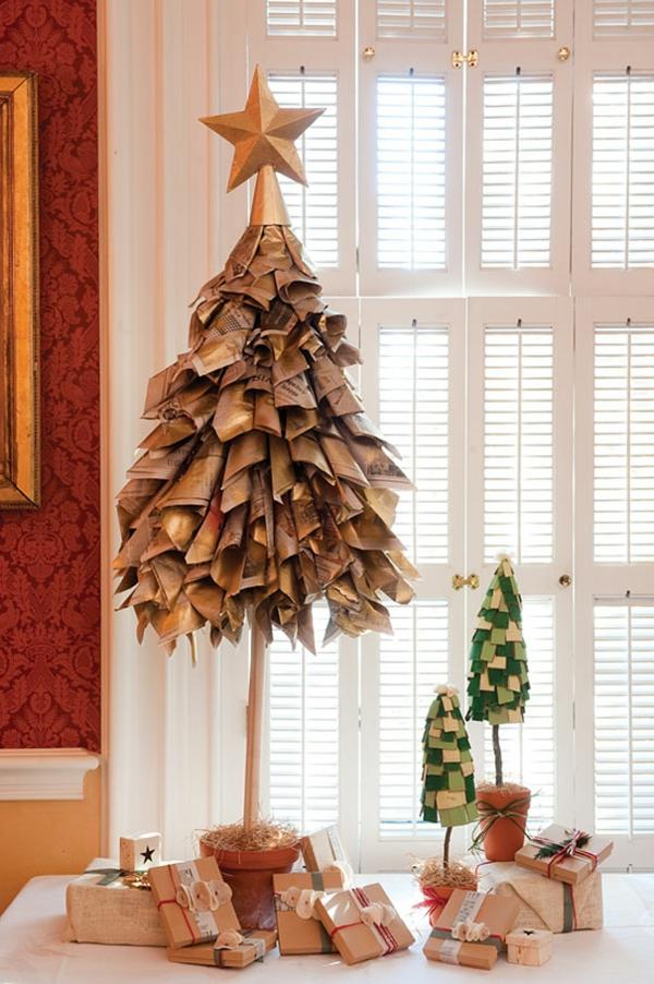 weihnachtsbaum basteln aus alten zeitungen