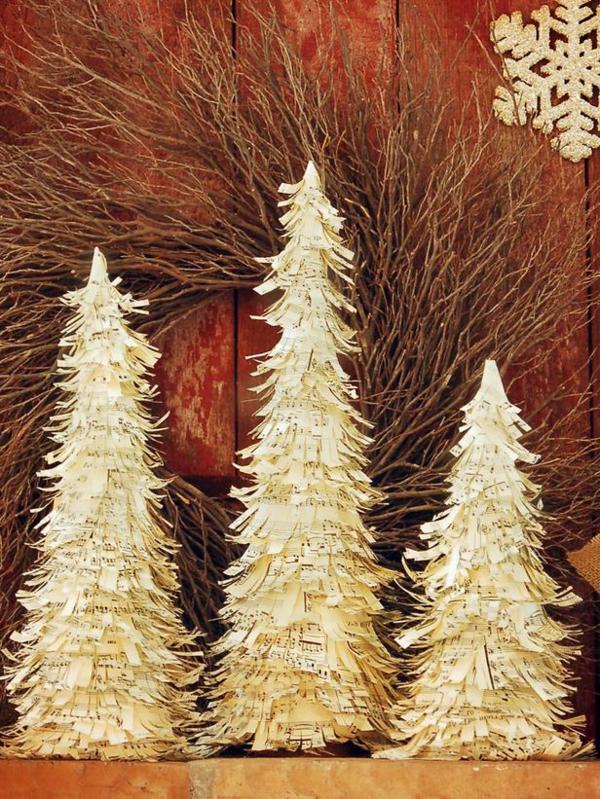 weihnachtsbaum basteln aus notenpapier