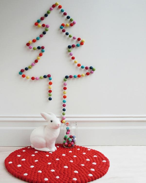 weihnachtsbaum basteln bunt aus filz bällchen