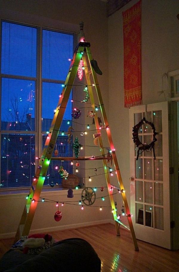 weihnachtsbaum basteln ein leiter mit lichterkette