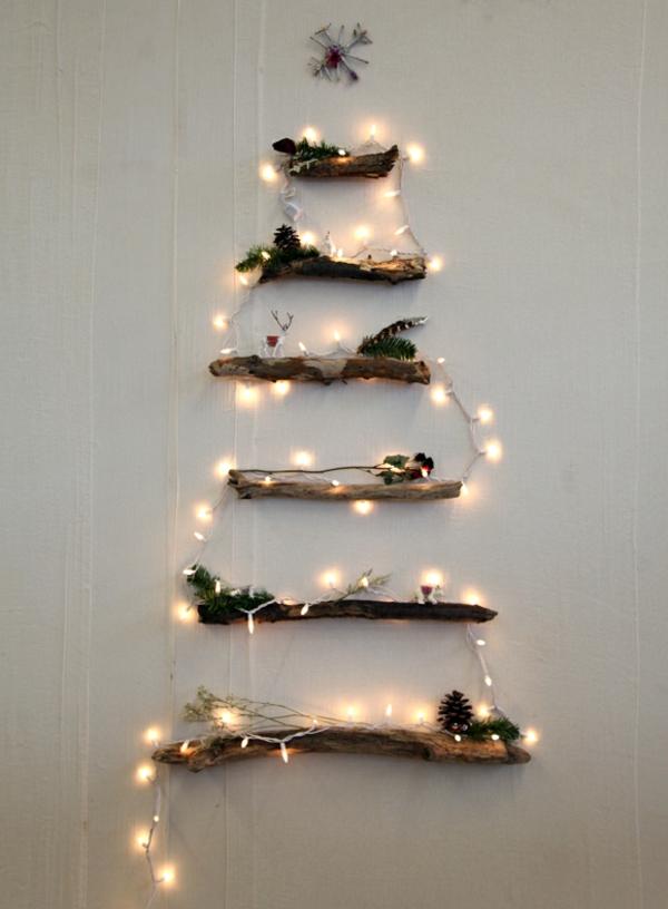weihnachtsbaum basteln lichterkette und baumäste