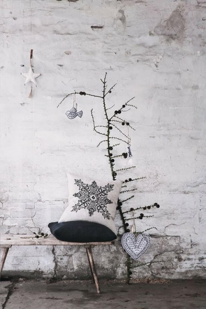 weihnachtsdekoration schwarz weiss puristisch minimalisitsch kissen sterne