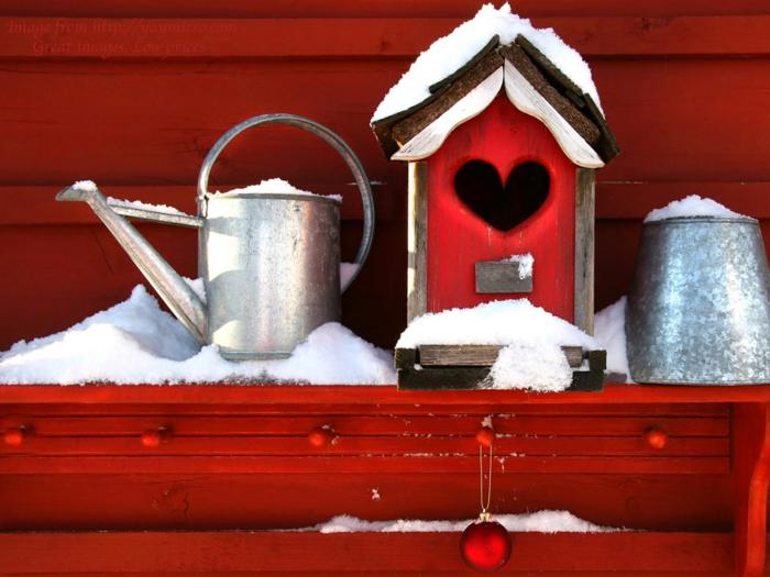 weihnachtsdekoration weihnachtsschmuck vogelhaus gießkanne blech
