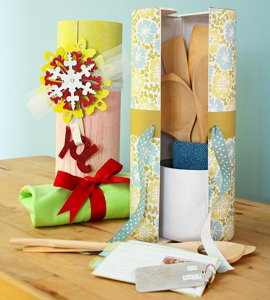 weihnachtsgeschenke küchenutensilien schön verpackt