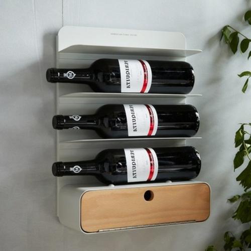 weinregale weiß für vier flaschen und schublade