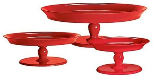 wohnaccessoires tortenständer in hochglanz rot