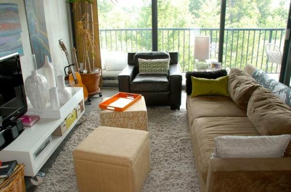 Wohnzimmer Farben Texturen Sitzhocker Quadratisch