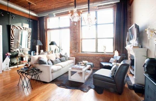 wohnzimmer farben texturen ziegel wandgestaltung