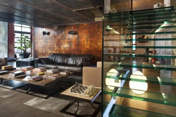wohnzimmer glas trennwand leder schwarz sofa