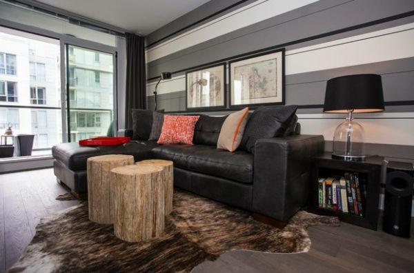 wohnzimmer leder schwarz nebentisch couch